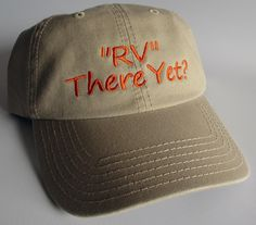 """Custom embroidered hats / caps, """"RV"""" There Yet by CreativeSenseCom on Etsy"""