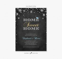 Winter Housewarming Party Invitation Printed or by chitrap