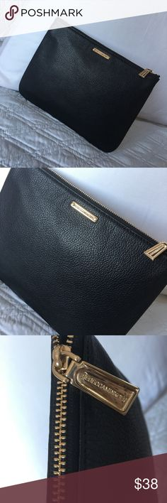 "Authentic Rebecca Minkoff Leather Clutch/Pouch Gorgeous! Black leather pouch/clutch/make up bag from Rebecca Minkoff! Approximate measurements: 9"" x 7"" w/ zip closure. In very good condition. NO TRADE ❌ Rebecca Minkoff Bags Clutches & Wristlets"