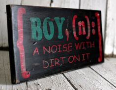 BOY, (n): a noise with dirt on it - Hand painted and distressed wood sign - 9 1/4 x 24