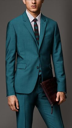 Burberry London Dark teal Slim Fit Wool Mohair Jacket - A tailored slim fit jacket in a tonic-effect wool mohair blend. The single-breasted piece features slim notch lapels and soft shoulders for a close fit. Discover men's tailoring at Burberry.com