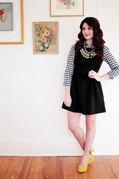 black and white plaid top + black dress + bold necklace and heels