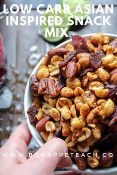 Low Carb Asian Inspired Snack Mix is a perfect keto snack! It's so easy to make and is great to share or use for meal prepping! Low Carb Asian Inspired Snack Mix is a perfect keto snack! It's so easy to make and is great to share or use for meal prepping! Trail Mix Recipes, Snack Recipes, Easy Recipes, Carb Counter, Diabetic Desserts, Diabetic Meals, High Protein Low Carb, Diet Snacks, Low Carb Recipes