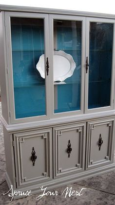 Wildwood Creek: Furniture...re-finish china cabinet? Dark taupe grey and blue