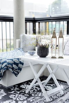 Scandinavian Porch Makeover and a Relaxing Date Night Porch And Balcony, Small Balcony Decor, Small Outdoor Spaces, Outdoor Balcony, Balcony Design, Outdoor Rooms, Outdoor Living, Outdoor Lounge, Outdoor Decor