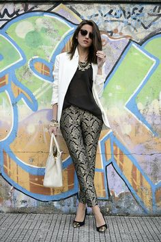 Adding a white blazer to a darker outfit is perfect for cooler temps/ Lovely Pepa