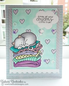 Dreaming Cat Card by Yukari Yoshioka   Newton's Naptime Stamp set by Newton's Nook designs
