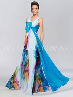 Beformal.com.au SUPPLIES Sexy A-Line V-Neck Bowknot Printing Summer Beach Formal Dress  Long Formal Dresses (3)
