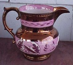 "Antique Staffordshire Early 19th Century English 5"" Pitcher Pink Copper Lustre 