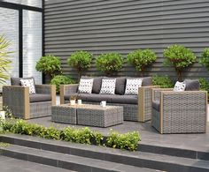 Beachcrest Home Tahara 5 Piece Sofa Set with Cushions Rattan Furniture Set, Outdoor Wicker Patio Furniture, Outdoor Sofa Sets, Outdoor Seating, Outdoor Spaces, Outdoor Living, Outdoor Decor, Farmhouse Furniture, Pallet Furniture
