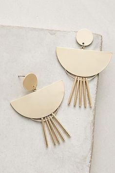 Anthropologie Fringed Spoon Drop Earrings