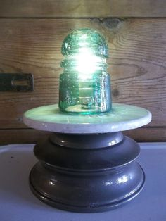 Glass Insulator Light/Lamp~Spiral BEEHIVE 1907 & Vintage EDISON Battery Base
