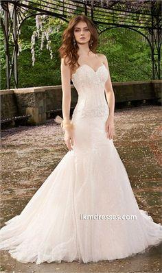 Strapless Mesh Wedding Dress