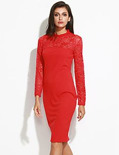 Women's+Formal+/+Party+Sexy+Bodycon+Dress,Solid+V+Neck+Mini+Long+Sleeve+Red+/+Black+Cotton+/+Spandex+Spring+/+Fall+Mid+Rise+–+USD+$+17.99