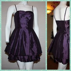 Divided By H&M Purple Tulle Tiered Tafetta Dress Own this Brand New cocktail dress in a beautiful deep purple, with tulle details in a flattering tiered design.  Adjustable spaghetti straps. Divided Dresses