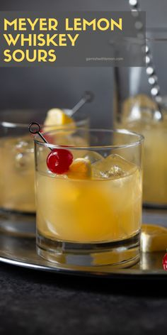 This meyer lemon whiskey sour recipe gives a classic cocktail a fun seasonal twist with the addition of meyer lemons its a delicious batch cocktail for fall and holiday parties! whiskey bourbon cocktails whiskeycocktails batchcocktails t shirts fr herren Bourbon Cocktails, Whiskey Drinks, Classic Cocktails, Winter Cocktails, Lemon Cocktails, Fun Cocktails, Sour Cocktail, Cocktail Menu, Cocktail Recipes