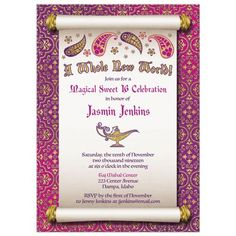 Fabulous Arabian Nights magic genie lamp fairy tale sweet 16 birthday invitation (note, can also be used for sweet 15 or quincea ñ era / quinc / quince años). This invitation is inspired by the Aladdin story from the Arabian Nights stories. Aladdin Birthday Party, Aladdin Party, Birthday Parties, Sweet 16 Invitations, Gold Invitations, Birthday Invitations, Quinceanera Themes, Quinceanera Invitations, Quinceanera Planning