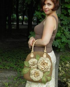 Nuno felted handbag. Floral felted purse Roses. by Crafts2Love, $280.00