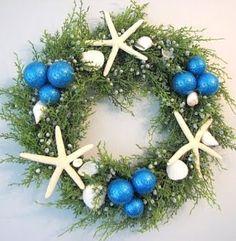 Beach theme wreath or table decor. Love the colors!