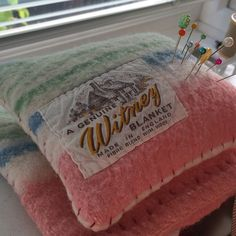 Not Canadian, but great way to show off a label!  #vintage #Witney #Wool #blanket #project, #pincushion.