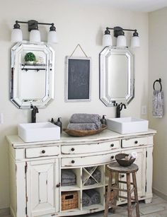 Master Bathroom Vanity From An Old Buffet