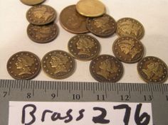 12 Vtg Brass Dime size Date 1842 Faux Coin Money 10x1m Jewelry Findings Stamping
