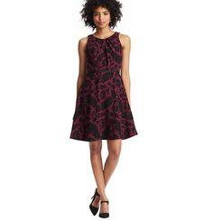 Petite Feathered Lace Print Skirt Dress | Loft