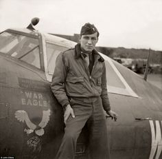 "Lieutenant Severino B. Calderon pictured next to his Thunderbolt ""War Eagle"" with an American Eagle attacking a swastika painted on it. Photographs Of People, Vintage Photographs, Vintage Photos, P 47 Thunderbolt, Men Are Men, Aircraft Painting, Leather Flight Jacket, Fighter Pilot, Ww2 Aircraft"