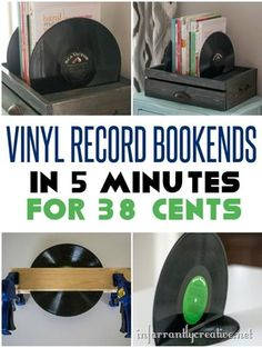 DIY Vinyl Record Bookends - These are only 38 cents to make and take less than 5 minutes! DIY Vinyl Record Bookends - These are only 38 cents to make and take less than 5 minutes! Vinyl Record Projects, Vinyl Record Art, Vinyl Art, Records Diy, Old Records, Diy Spring, Deco Originale, Cute Dorm Rooms, Vinyl Crafts