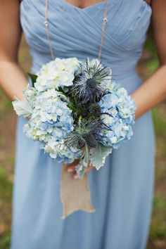 Blue bouquet with hydrangeas & thistles | Happy Everything Co #wedding