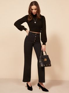 If you have to wear pants. This is a wide leg pant with center front buttons and belt loops.