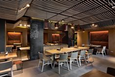 Architecture. Odessa Restaurant by YOD Design Lab Having Wonderful Rope Ceiling: Cool Interior With Glass Wall Accent In Partial Part Near Black Ceiling ~ Ciiwa
