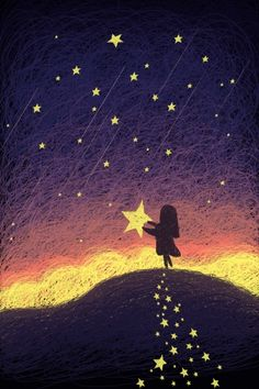 star night sky night good night healing coil painting beautiful dream meteor starry sky picking up the stars teenage girl