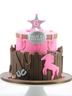 Western Pink Cowgirl Cake
