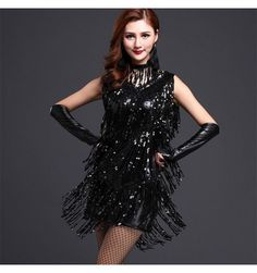 e7b3e0262a Royal blue black silver gold sequins women s ladies female fringes  competition stage performance play latin salsa singer dance dresses outfits