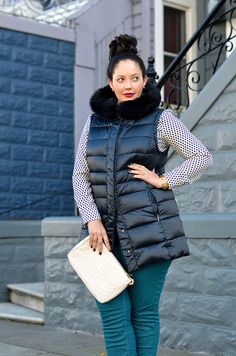 Pattern on the shirt, with the colored jeans + down vest and sassy clutch - love for a winter bike ride to happy hour!    Girl with Curves