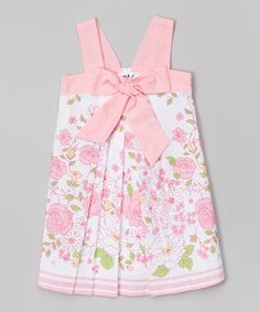 White Floral Bow Pleated Dress - Infant, Toddler & Girls #zulily #zulilyfinds