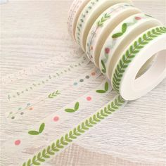 Slim Washi Tapes - 5 Skinny Washi Roll Set - Botanical Plant Leaves Leaf Flower Floral - Kawaii Stationery - 8mm x 10m