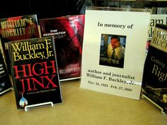 Books written by William F. Buckley, Jr. are on display to celebrate his life and legacy.