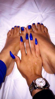 Royal blue acrylic fake almond stiletto nails with matching blue pedicure manicure mani pedi Sexy Nails, Hot Nails, Trendy Nails, Hair And Nails, Colorful Nail Designs, Acrylic Nail Designs, Blue Pedicure, Nail Polish, Nail Nail