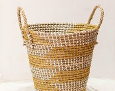 Etsy :: Your place to buy and sell all things handmade Seagrass Storage Baskets, Wicker Baskets, Grocery Basket, Paper Roll Holders, Big Basket, Natural Weave, Vintage Storage, Creative Storage, Toy Organization