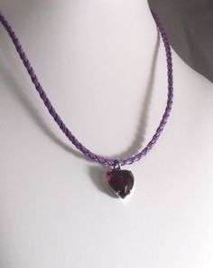 BIRTHSTONE AMETHYST aslo for the signs Aquarius/Pisces! Rock Candy Amethyst Heart of Glass Purple/Black by MatriarchbyFP