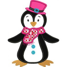 Penguin With a Big Hat Christmas Applique Machine Embroidery Digitized Design Pattern #christmas #embroidery #applique #hat