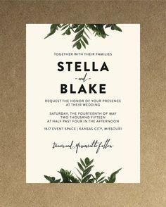 Modern Botanical Greenery Wedding Invitation // by blacklabstudio