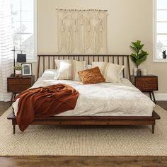 Earthy Bedroom, Modern Boho Master Bedroom, Warm Bedroom Colors, Green Master Bedroom, Walnut Bedroom, Minimal Bedroom, Dream Bedroom, King Bedroom, King Bed Headboard