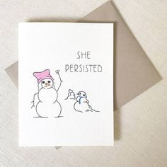 Funny Christmas Card She Persisted Pussy Hat by Chalkscribe Funny Holiday Cards, Merry Christmas Funny, Funny Greeting Cards, Greeting Cards Handmade, Christmas Humor, Make Christmas Great Again, Cards For Boyfriend, Snowman Cards, Christmas Items