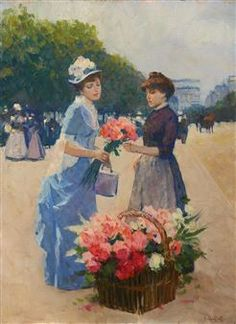 View Two Ladies with Flowers with the Arc de Triomphe in the Distance By Victor Guerrier; oil on canvas; Access more artwork lots and estimated & realized auction prices on MutualArt. Old Paintings, Vintage Paintings, Paris Painting, Flowers For Sale, Bastille Day, Two Ladies, Victorian Art, Flower Market, Figure Painting