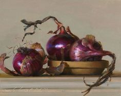 "Jeffrey T. Larson Red Onions oil on panel 8x10"" 2010"
