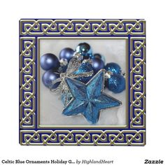 Celtic Blue Ornaments Holiday Glass Coaster