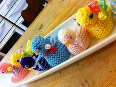 Knitted Easter chicks with chocolate egg inside. Made by volunteers are the local hospital. So cute.